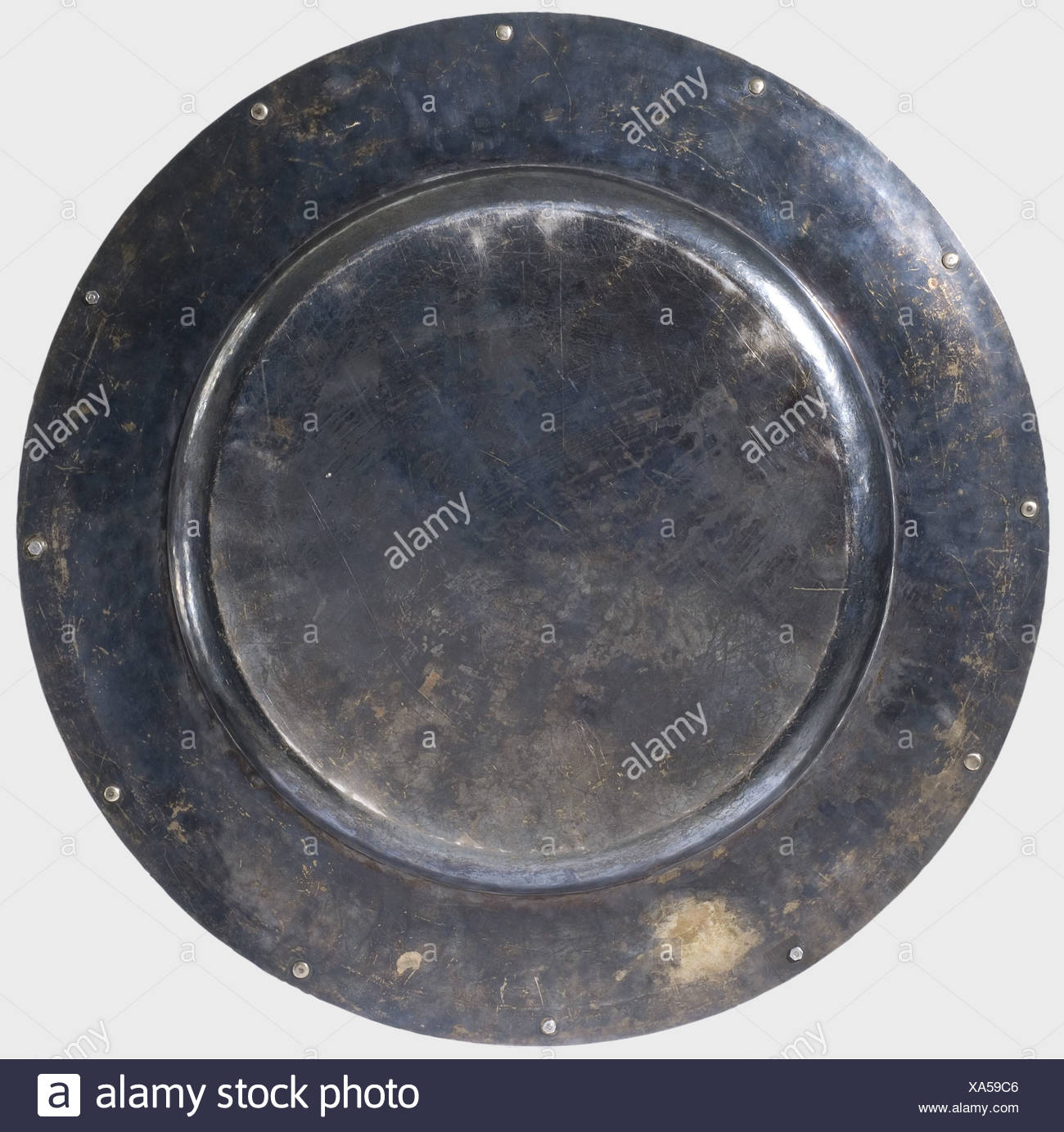 Hermann Göring, a large silver platter, present of the Luftwaffe Silver serving platter, 64.5 cm diameter, weight 4240 g. The edge of the border decorated with alternating three-dimensional laurel branches and groups of three/five moonstones and sapphire cabochons respectively (72 moonstones, 24 sapphires). Outer edge of the border gold-plated. Centre of the platter engraved with the Luftwaffe Eagle in front of the sun, small aircraft emanating from its rays (He111, Ju87). Under the eagle the silversmith mark of Professor Herbert Zeitner, Berlin, and hallmark ', Additional-Rights-Clearences-NA Stockbild