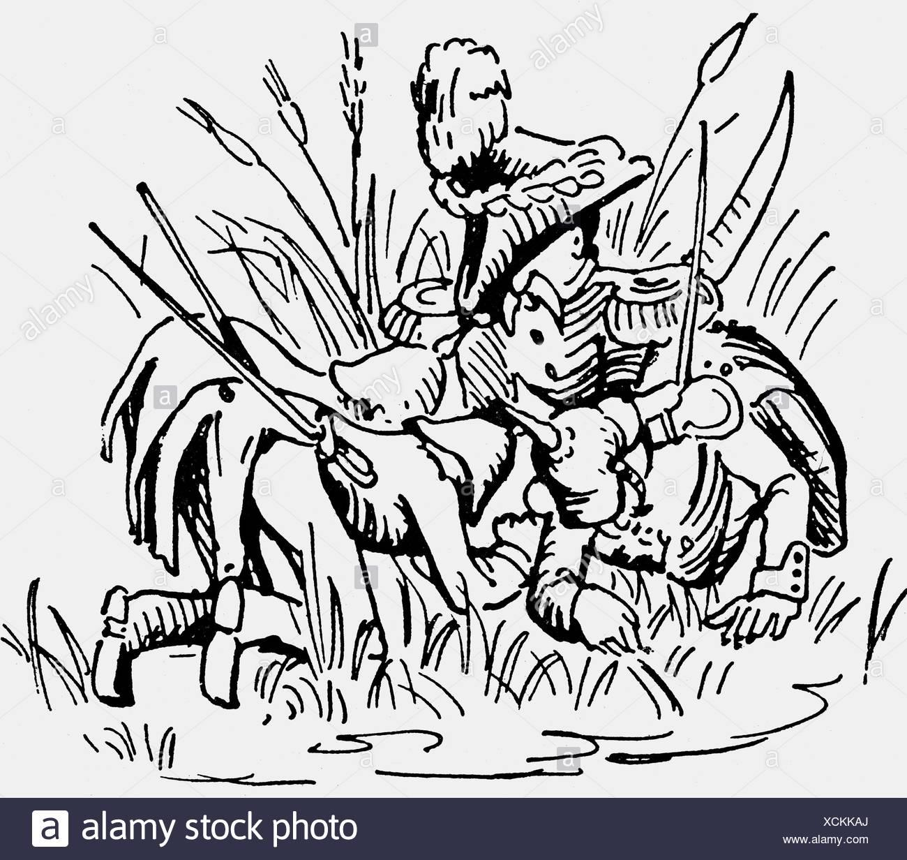 Wrangel, Friedrich Heinrich count of, 13.4.1784 - 1.11.1877, Prussian general, caricature, Wrangel harvesting grass', drawing, ' Stockbild