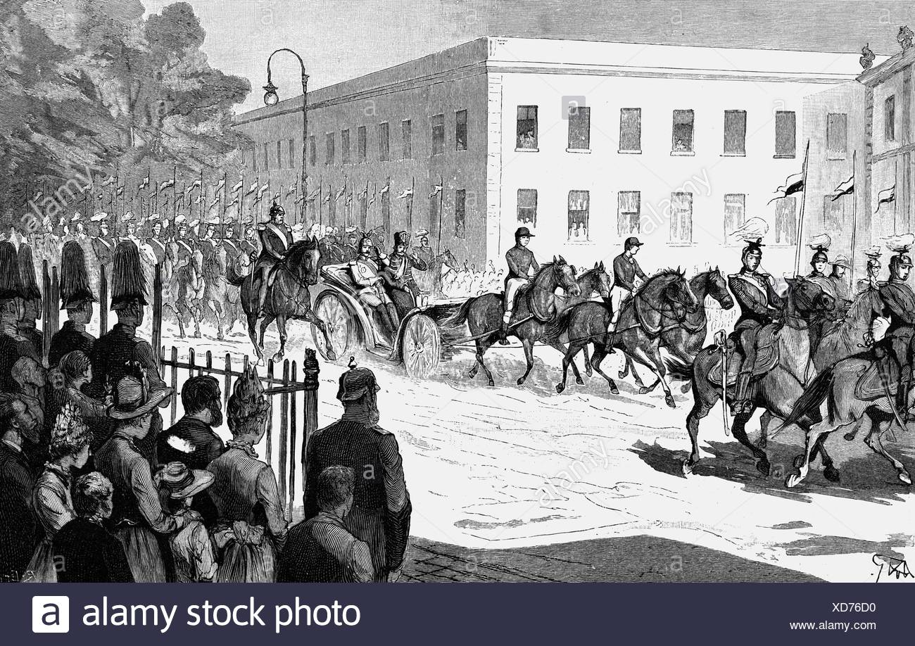 Naser al-Din, 16.7.1831 - 1.5.1896, Shah of Persia 17.9.1848 - 1.5.1896, state visit to Germany, ride through Berlin with Empero Stockbild