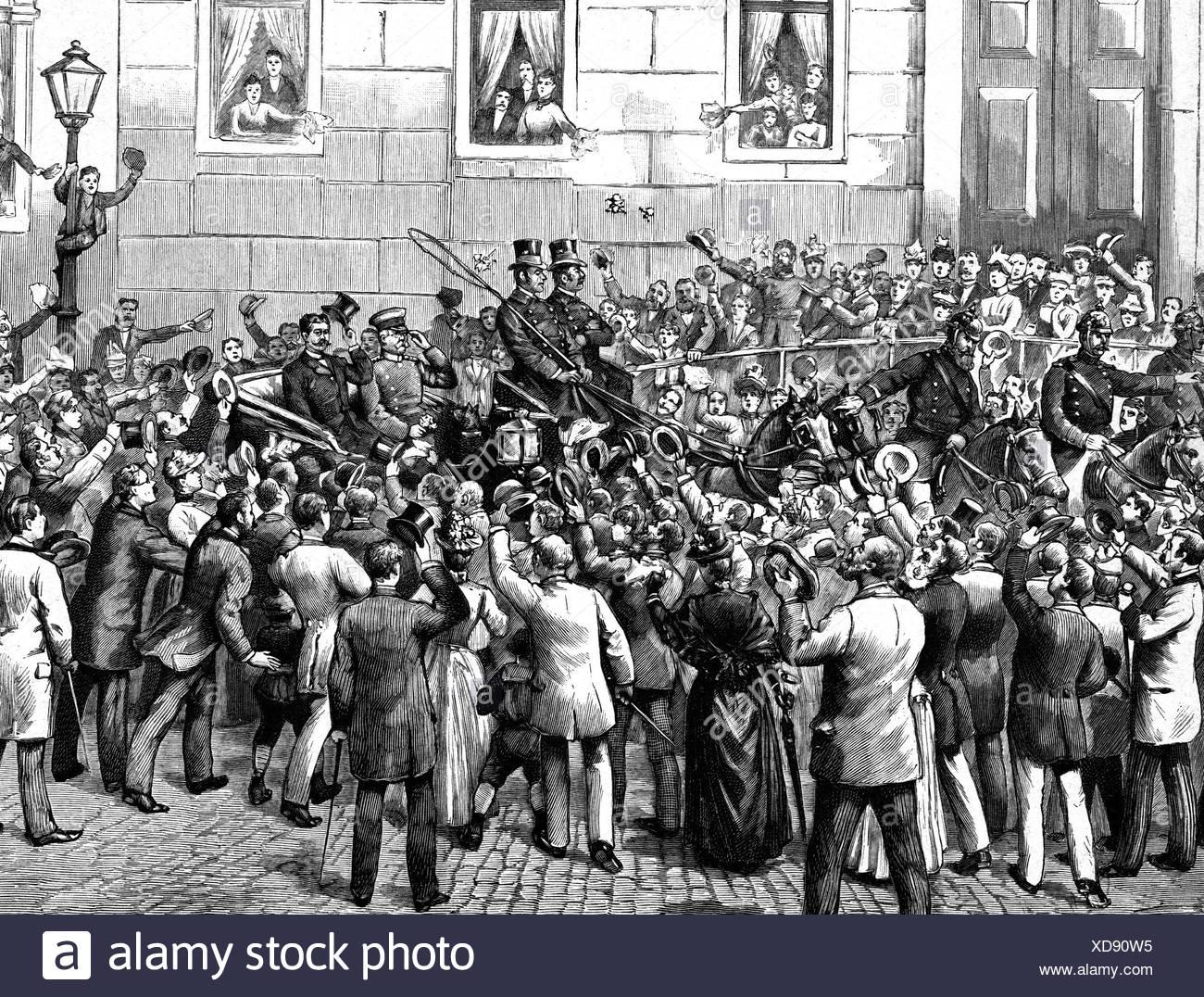 Bismarck, Otto von, 1.4.1815 - 30.7.1898, German politician, Chancellor of the German Empire 1871 - 1890, his discharge 1890, de Stockbild