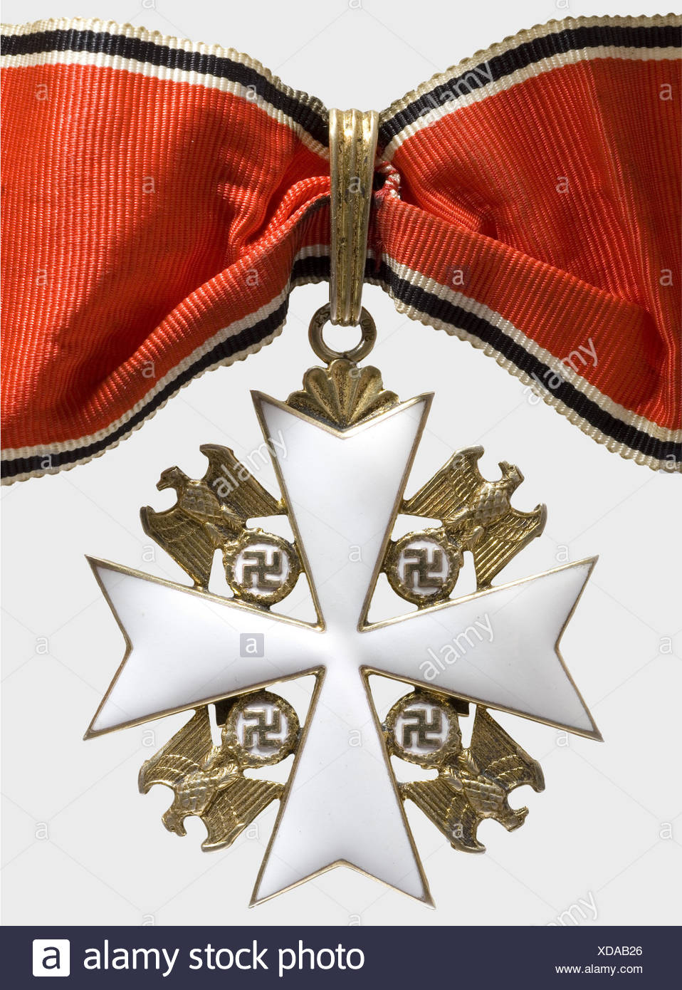 Meritorious Order of the German Eagle, a 2nd Class cross with swords (1943 - 1945) Neck cross, silver, gilt and enamelled. Rigid ring on a leave shaped agraffe. '21' maker's mark for Godet, Berlin and '900' mark of fineness. Applied, gilt swords. 50 x 50 mm, weight 28.05 g. The neck ribbon is included (OEK 3474)., historic, historical, 1930s, 20th century, awards, award, German Reich, Third Reich, Nazi era, National Socialism, object, objects, stills, medal, decoration, medals, decorations, clipping, cut out, cut-out, cut-outs, honor, honour, National Socialist, Additional-Rights-Clearences-NA Stockbild