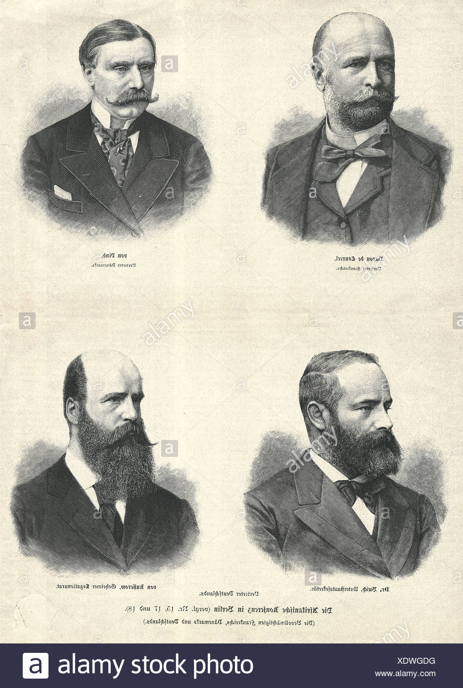 politics, conferences, 'The African Conference in Berlin (Agents of France, Danmark and Germany)', portrait, engraving, 19th century, Additional-Rights-Clearances-NA Stockbild