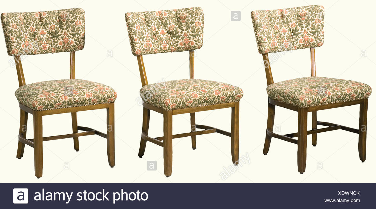 Adolf Hitler - six chairs from the 'Reichskanzlei' in Berlin., Made of beech wood stained the same colour as the chest of drawers and table - covers replaced. That these chairs were formerly in the 'Reichskanzlei' in Berlin could not be authenticated by other similar pieces, through pictures or from other sources. However, the connection to the 'Reichskanzlei' is to be considered likely, as the chairs are of the same provenance as the other pieces of furniture which can definitely be ascribed to this place. historic, historical, 1930s, 1930s, 20th century, NS, , Additional-Rights-Clearances-NA Stockbild