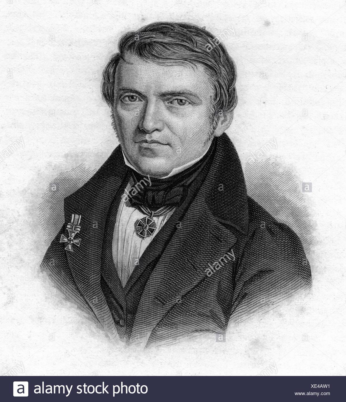 Ehrenberg, Christian Gottfried, 19.4.1795 - 27.6.1876, German biologist, zoologist, portrait, steel engraving, 19th century, voy Stockbild