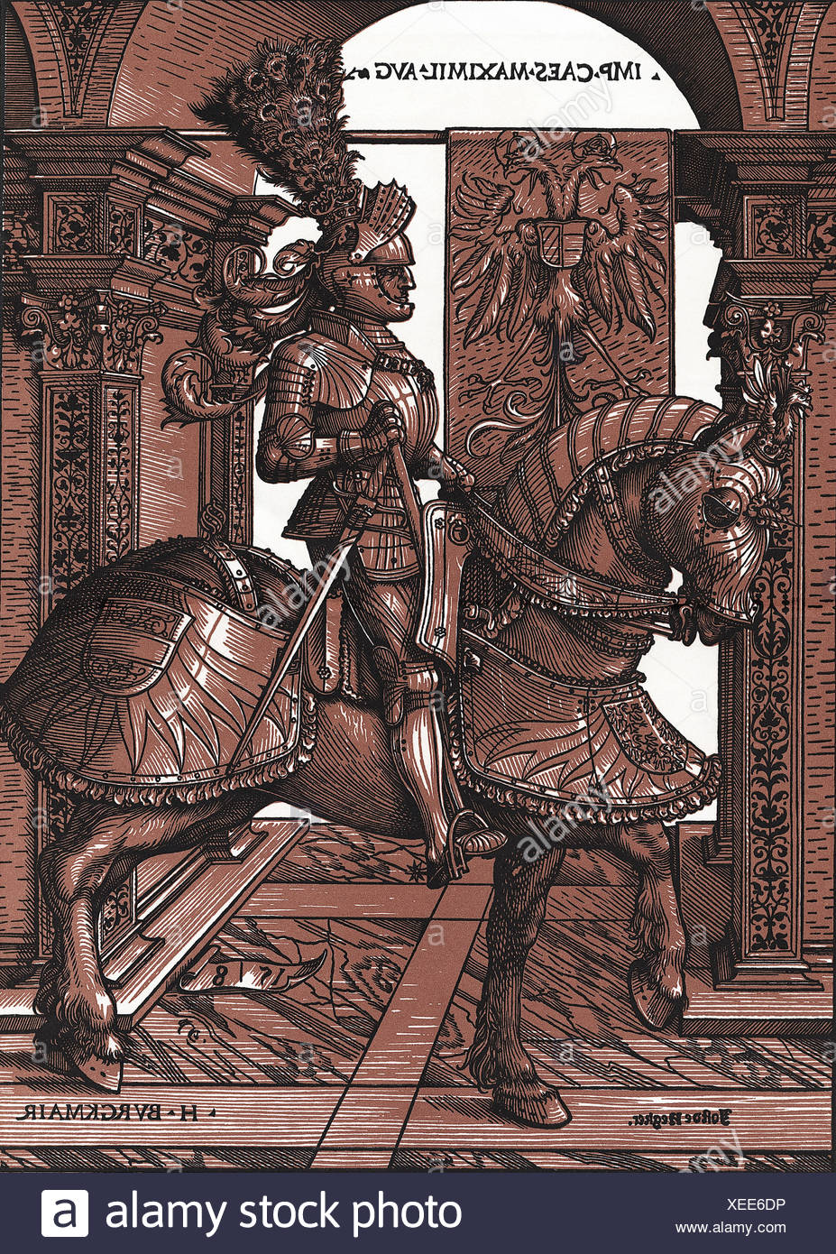 Maximilian I Joseph, 27.5. 1756 - 13.10.1825, King of Bavaria  1.1.1806 - 13.10.1825, equestrian picture, woodcut with two plate Stockbild