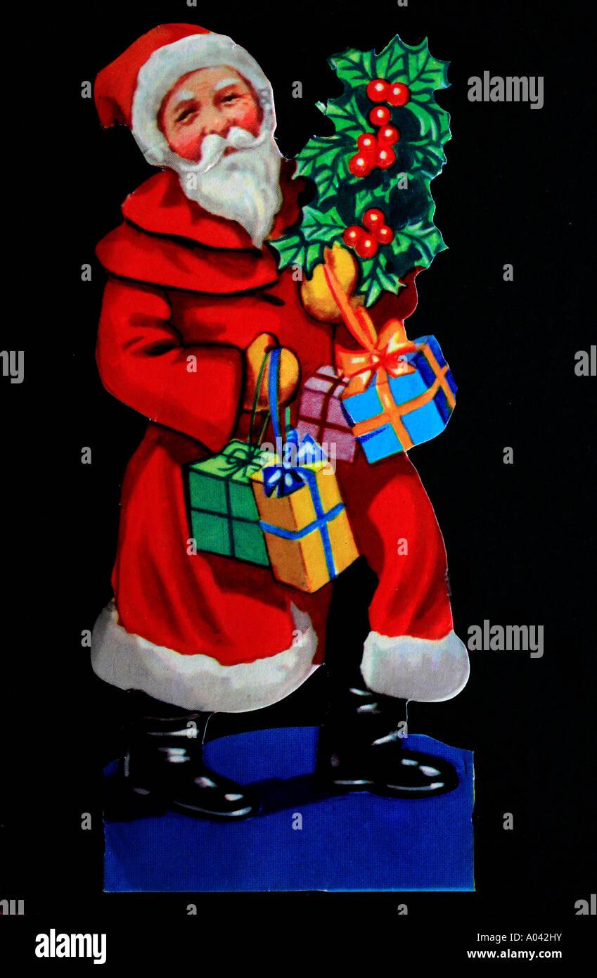 Einen alten Stil Englisch ausgeschnitten Aufkleber von Santa Claus Stockbild
