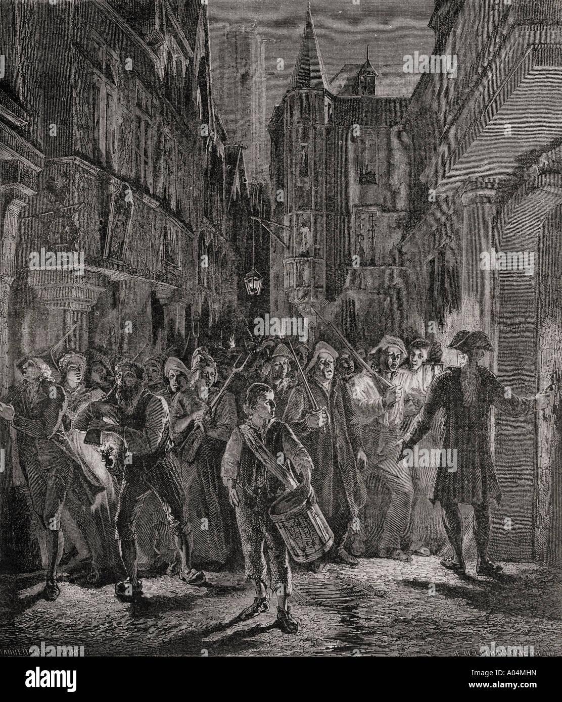 Französische Revolution gehen die Menschen auf die Straßen von Paris 1789 Stockbild