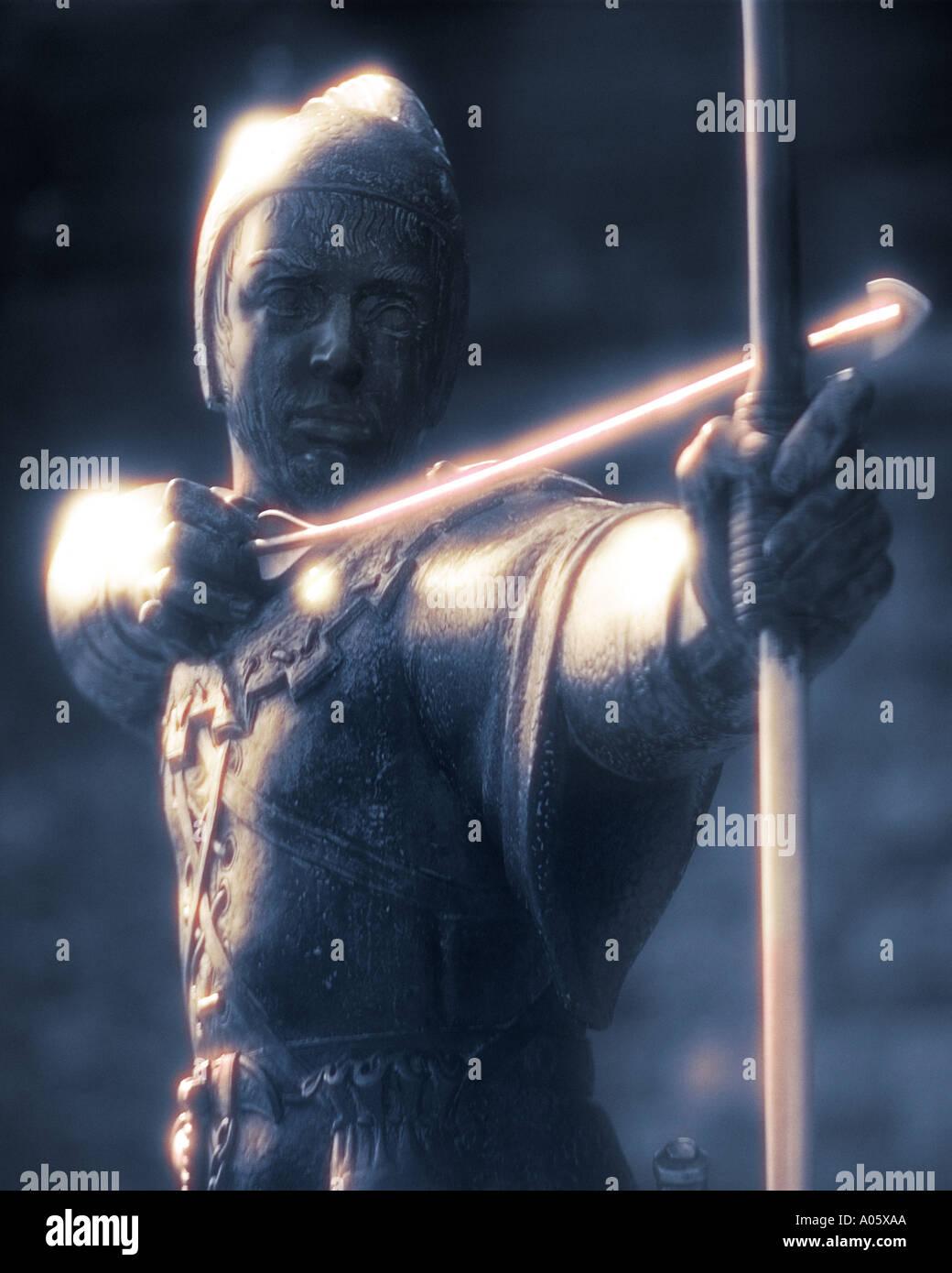 GB-NOTTINGHAM: Robin Hood Statue Stockbild