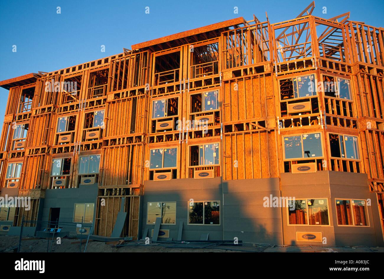 Holzhaus Bau in USA Stockfoto