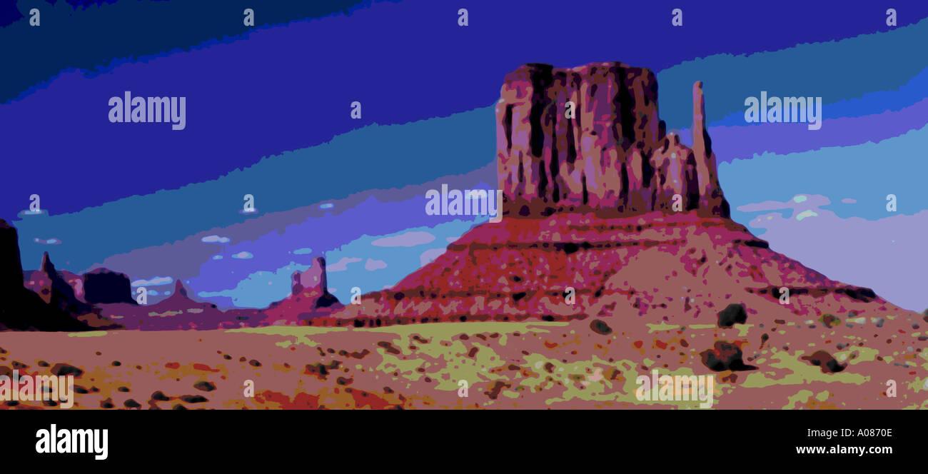 Panorama des Monument Valley USA Utah Arizona Monolith Anblick Felswüste bizarre wie ein Gemälde-Effekt Stockbild