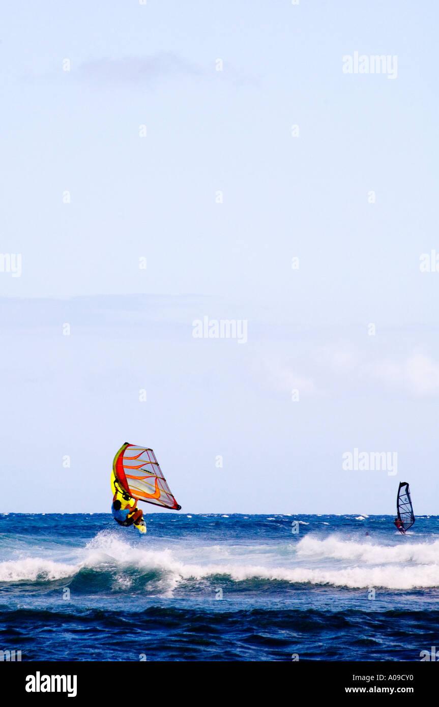 totale der Windsurfer aus Oahu Hawaii Stockbild