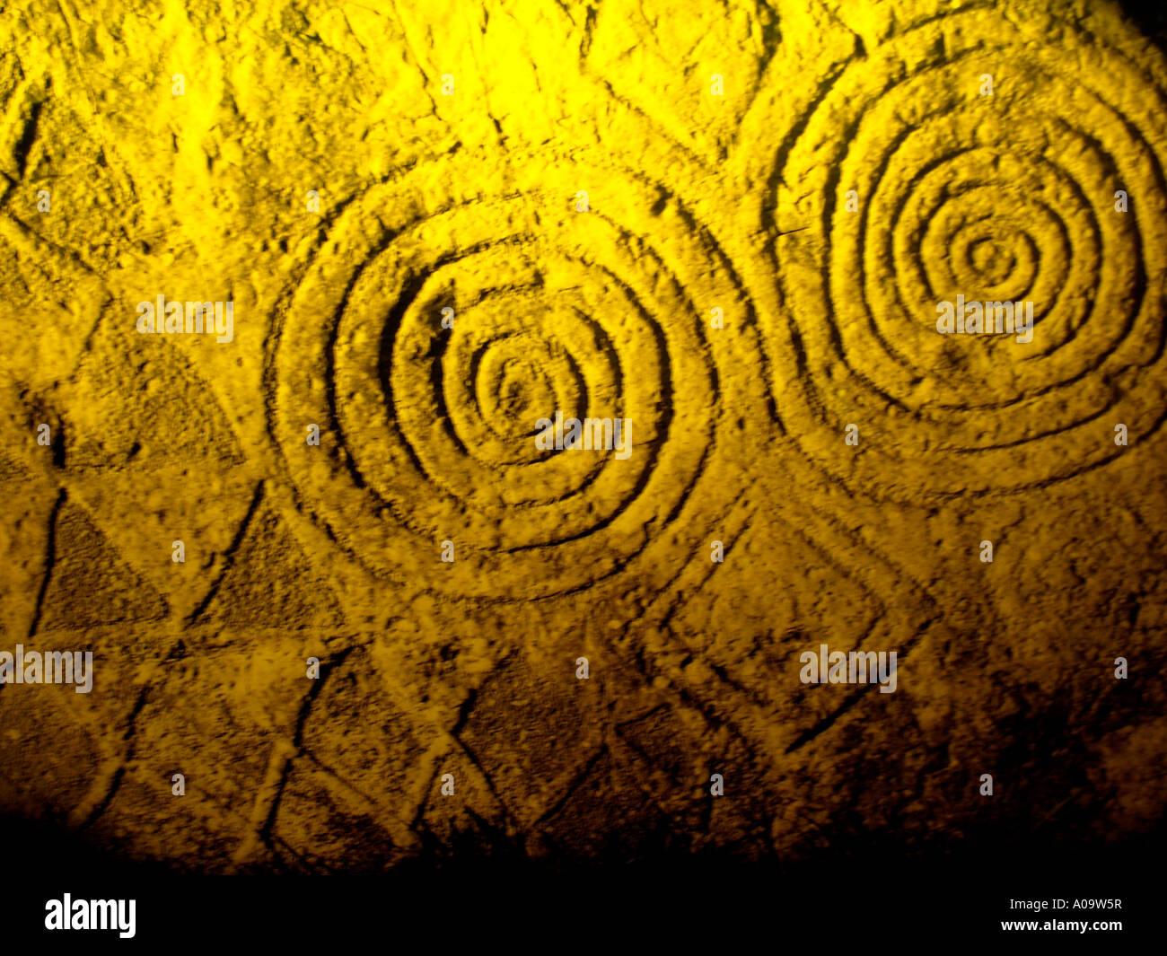 Neolithische Grafiken County Meath Newgrange Irland Stockbild