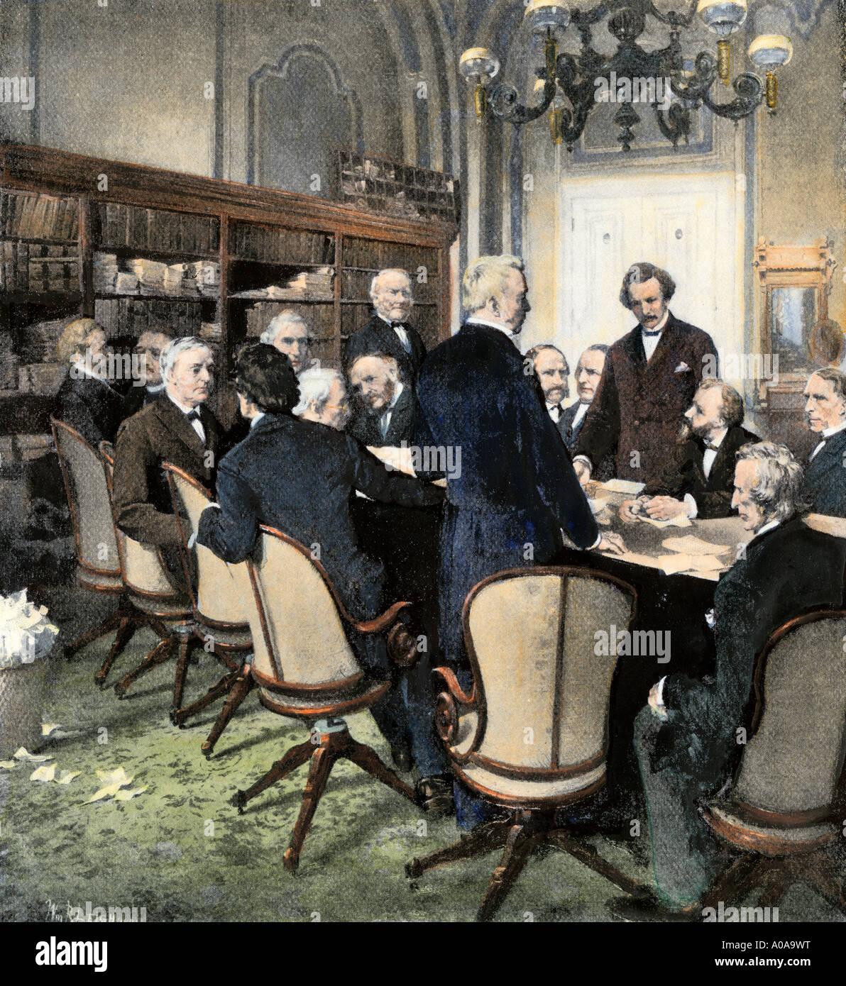 Gemeinsamen Haus und Wiederaufbau Senatsausschuss Schöpfer der 14. Änderung unter Präsident William Stockbild