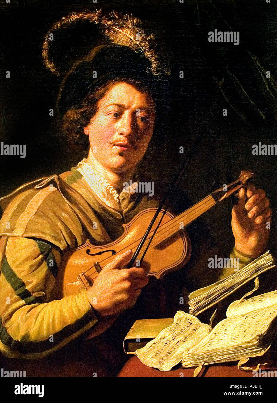 Laute Gitarrenmusik Gitarrist Leiden Museum Gemälde Stockbild