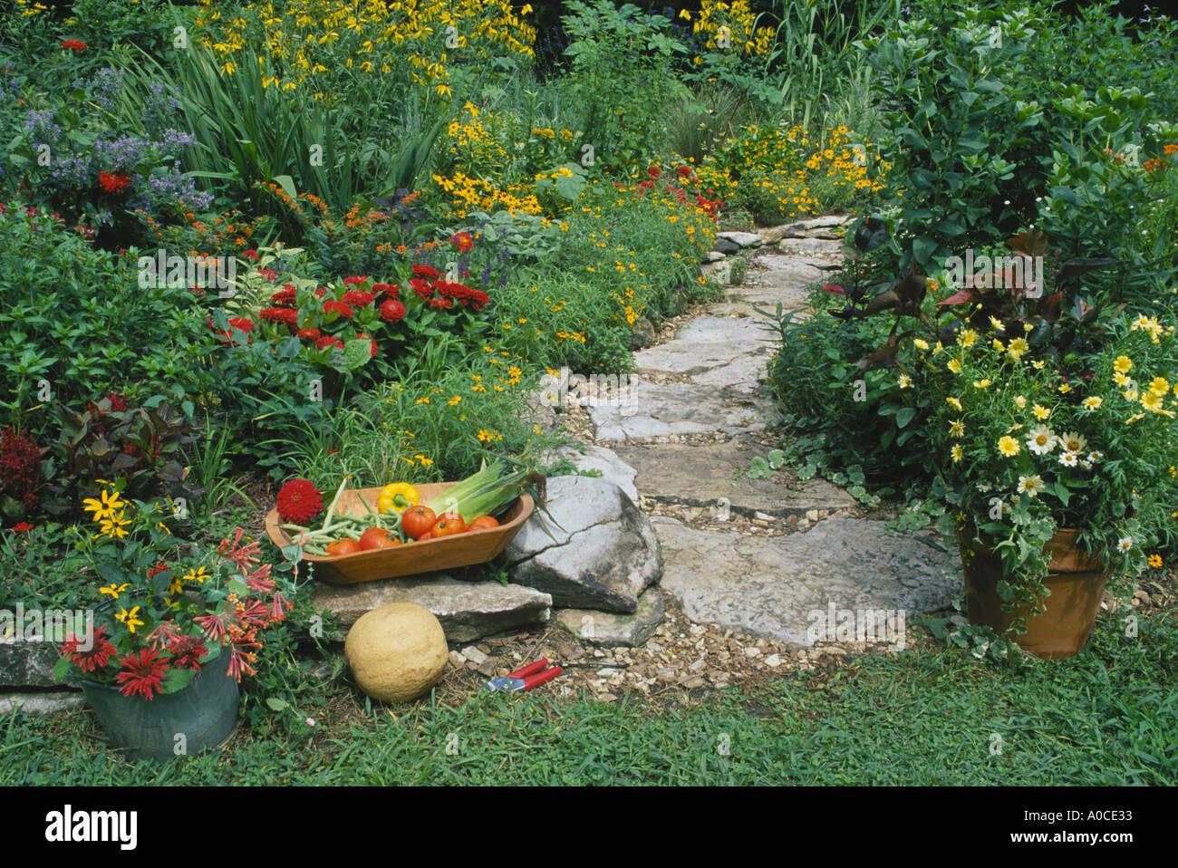 pflasterweg im heimischen garten durch gem se und blumengarten mit einj hrigen pflanzen und. Black Bedroom Furniture Sets. Home Design Ideas