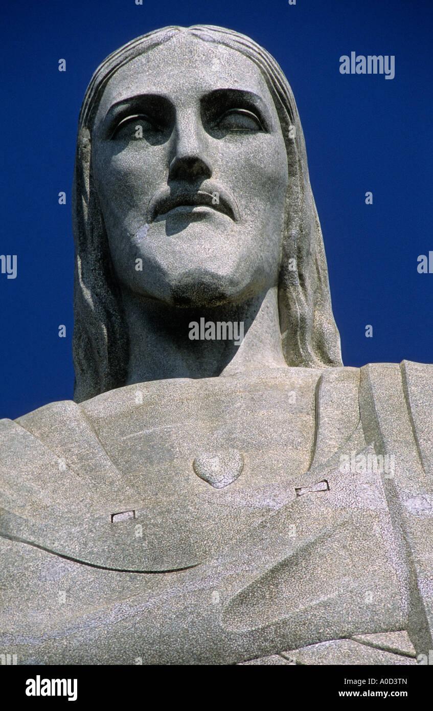 Gesicht von Christus Statue Corcovado Rio de Janeiro Brasilien Stockbild