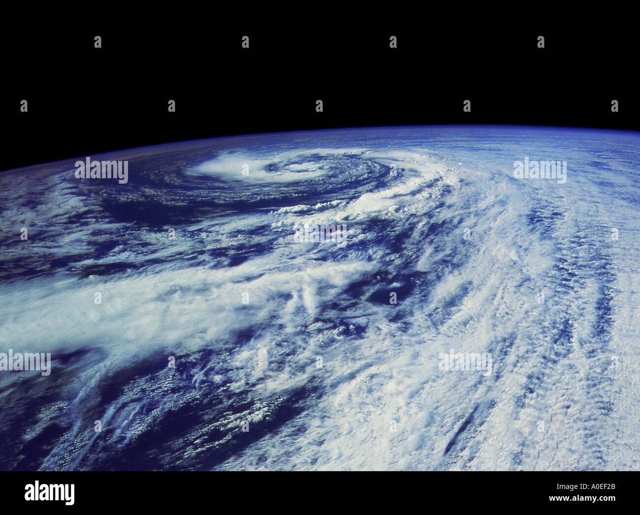 Hurrikan teilgenohmen aus dem Weltraum Stockbild