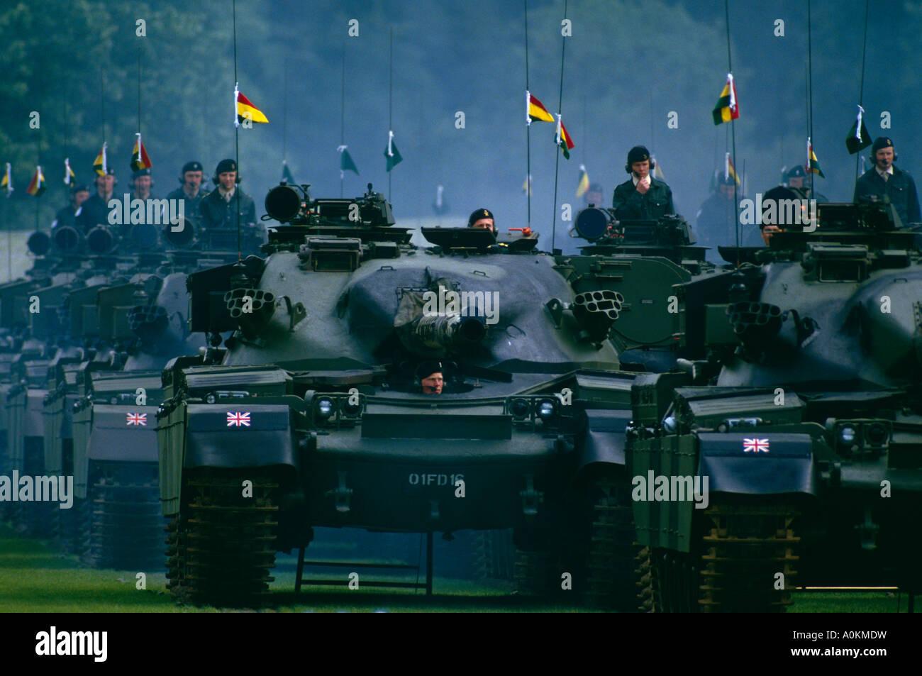 Panzer des 5. parade Inniskillen Dragoon Guards der britischen Armee in Tidworth, Hampshire, UK Stockbild