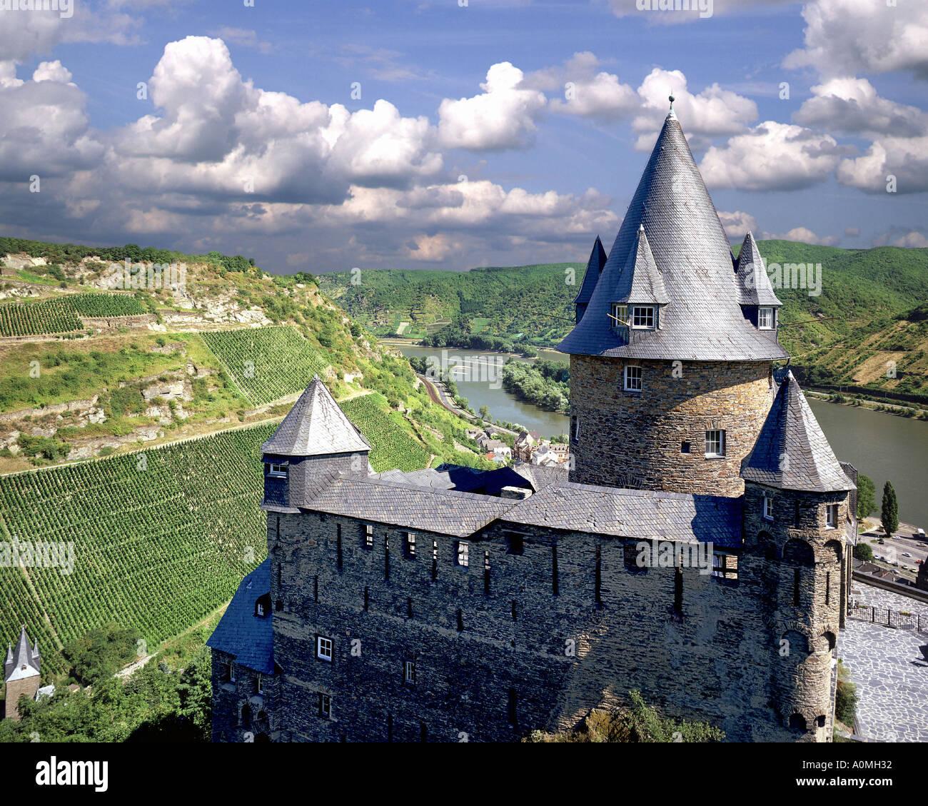 De-Rheinland Pfalz: Burg Stahleck über dem Rhein Stockbild