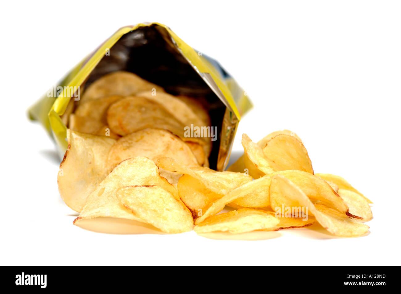 Offene Beutel mit Chips Stockbild