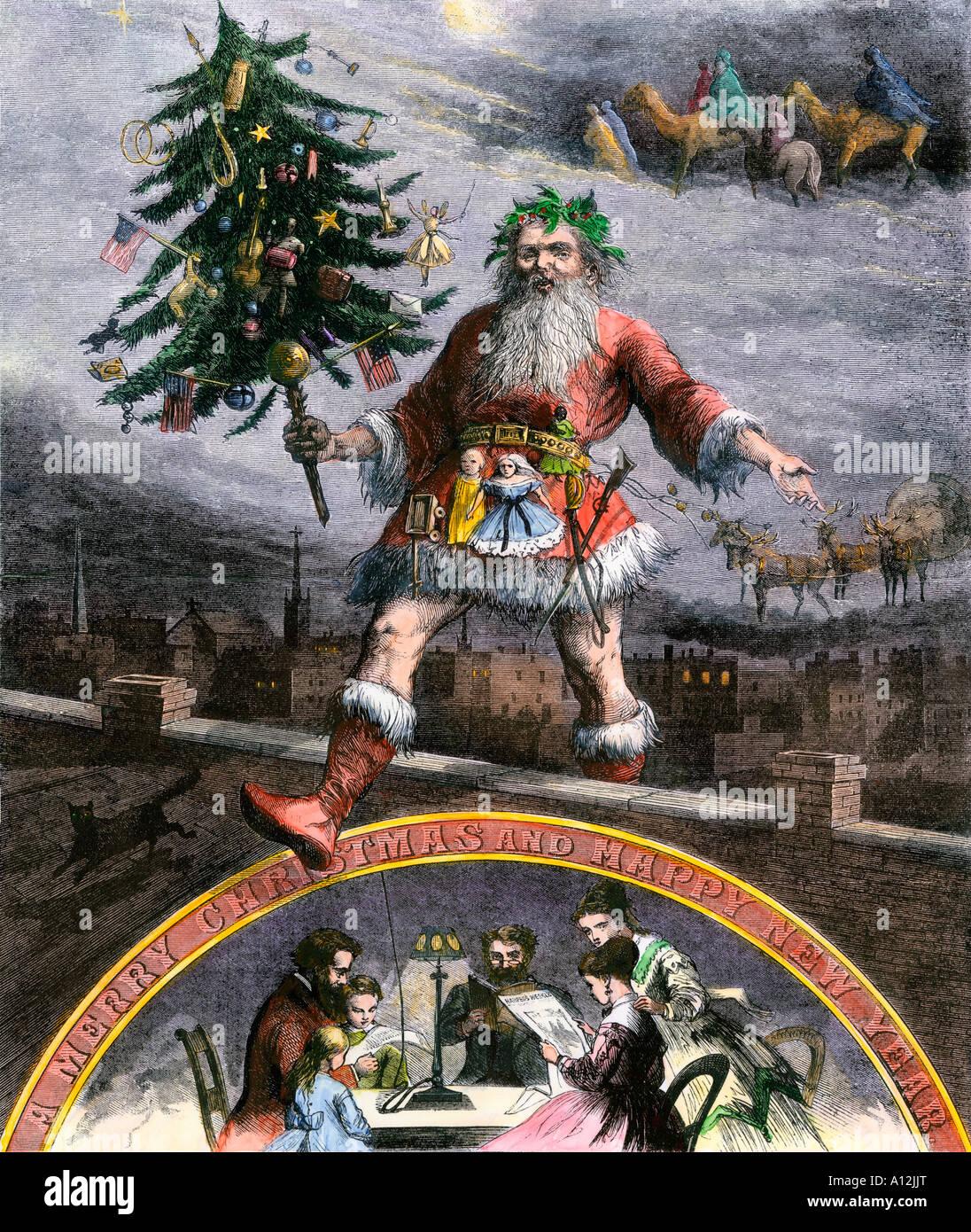 Santa Claus auf einem Dach mit einem geschmückten Weihnachtsbaum 1860. Hand - farbige Holzschnitt von Thomas Stockbild