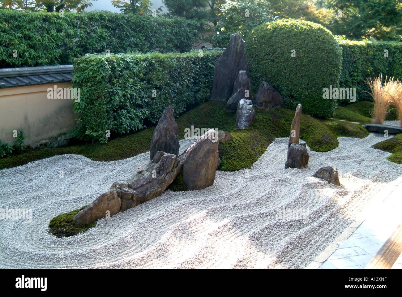 Geharkt Kies Zengarten Im Zuiho In Daitokuji Tempel Kyoto Japan