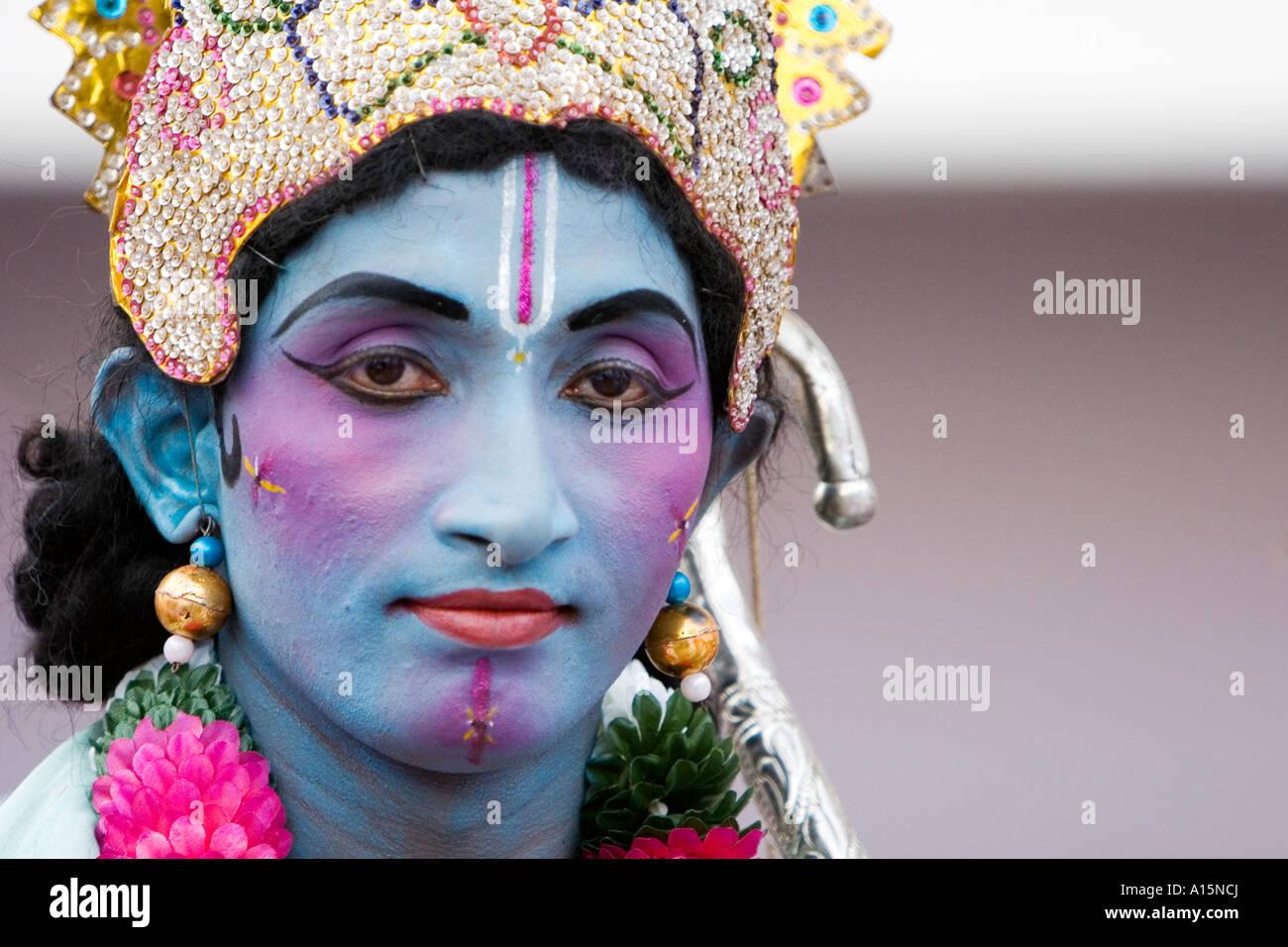 Indian Street Performer gekleidet als Lord Rama Stockbild