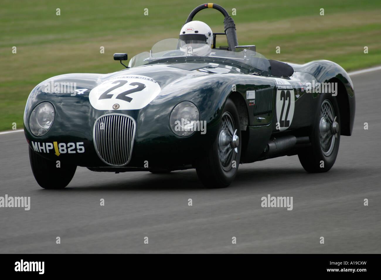 1953 Jaguar C-Type während Freddie März Memorial Trophy-Rennen in Goodwood, Sussex, England. Stockbild