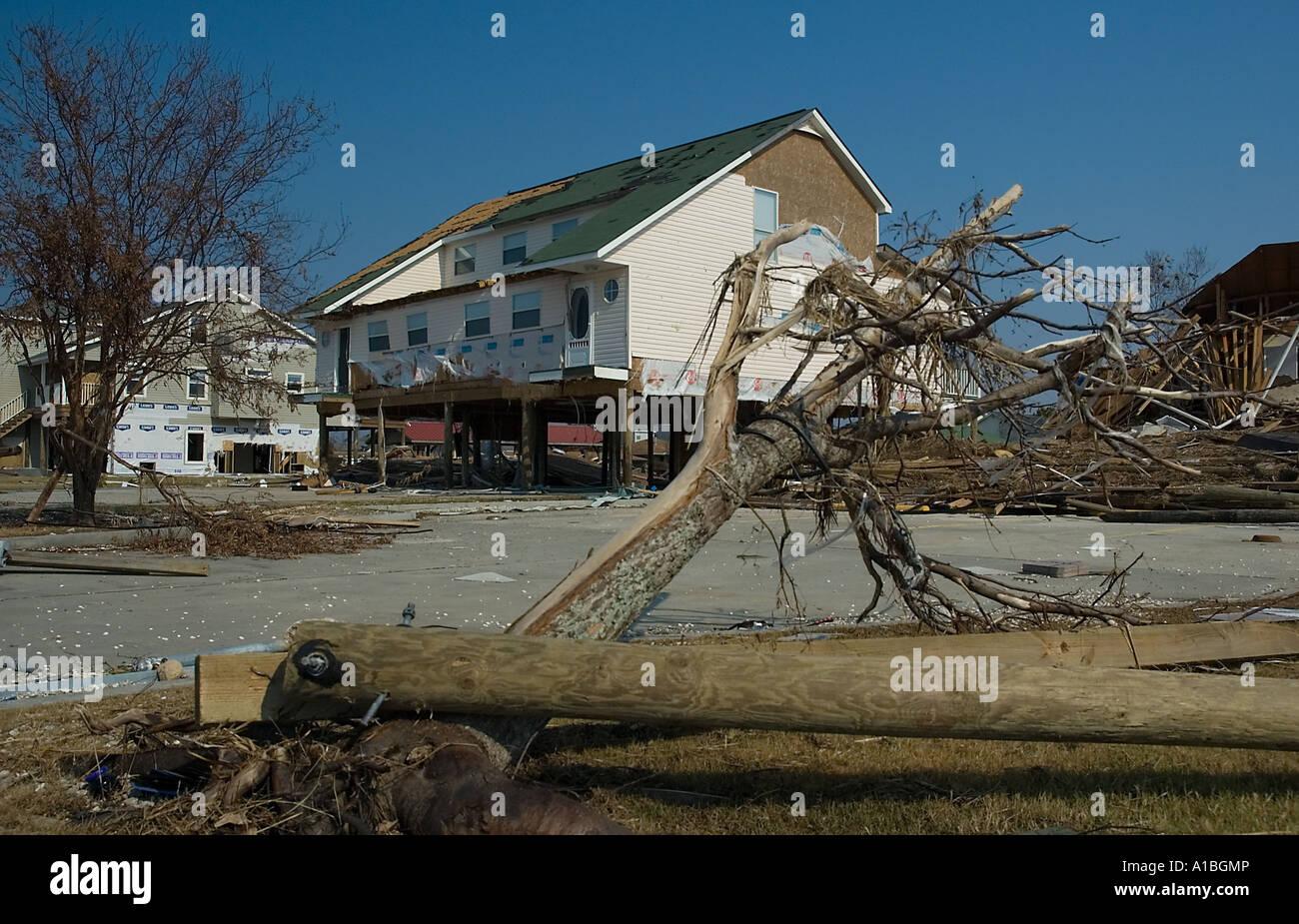 Zerstörung an den Ufern des Lake Pontchartrain Gehäuse Stockbild
