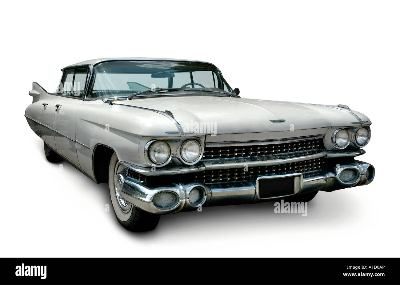 american retro white cadillac fleetwood 1959 oldtimer stockfoto