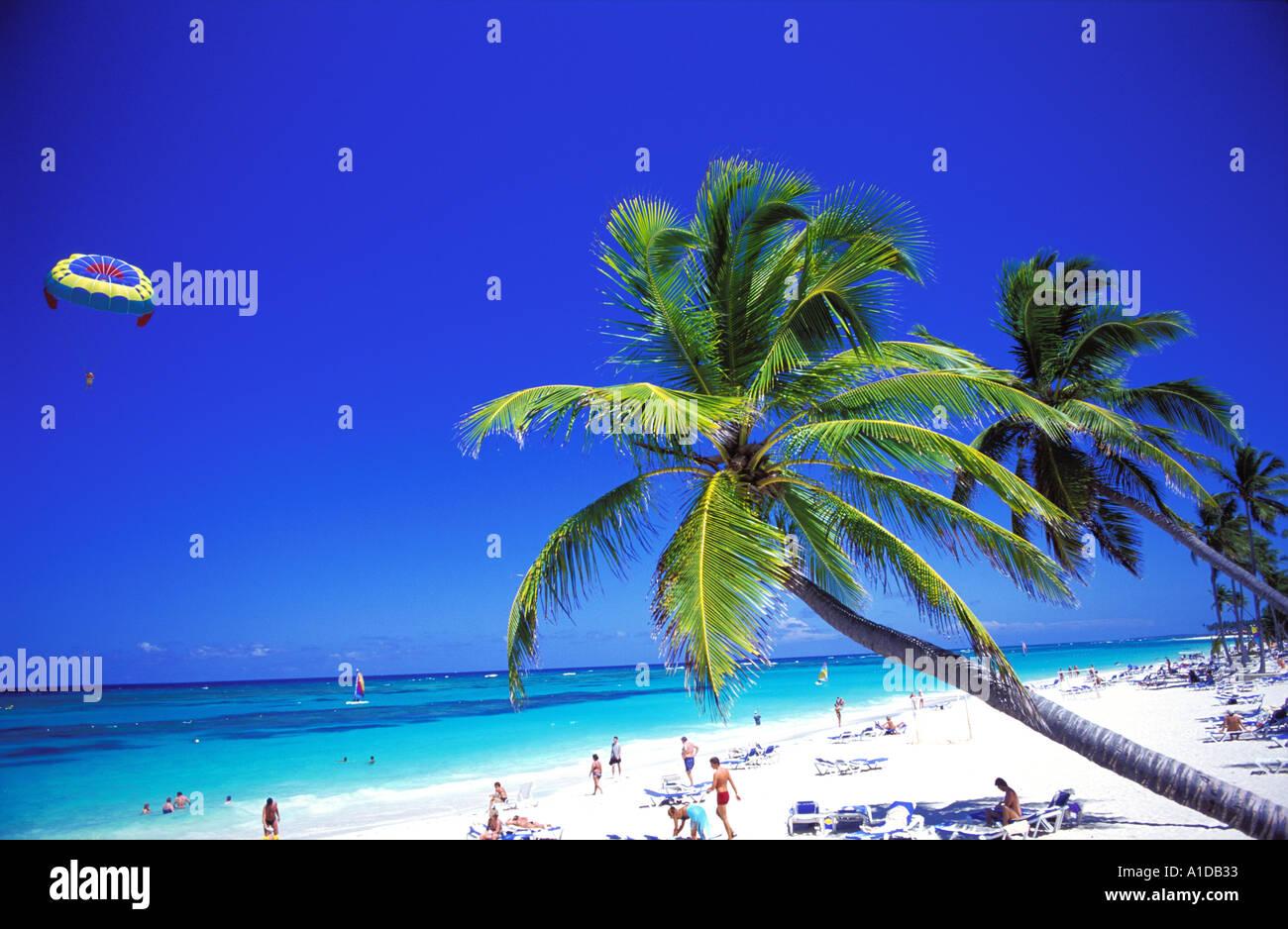 Dominikanische Republik Bavaro Beach, Strand mit Palmen Stockbild