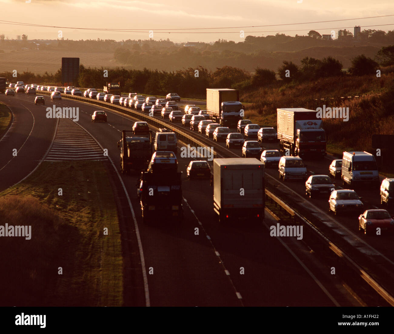 Stau auf der Autobahn Stockbild