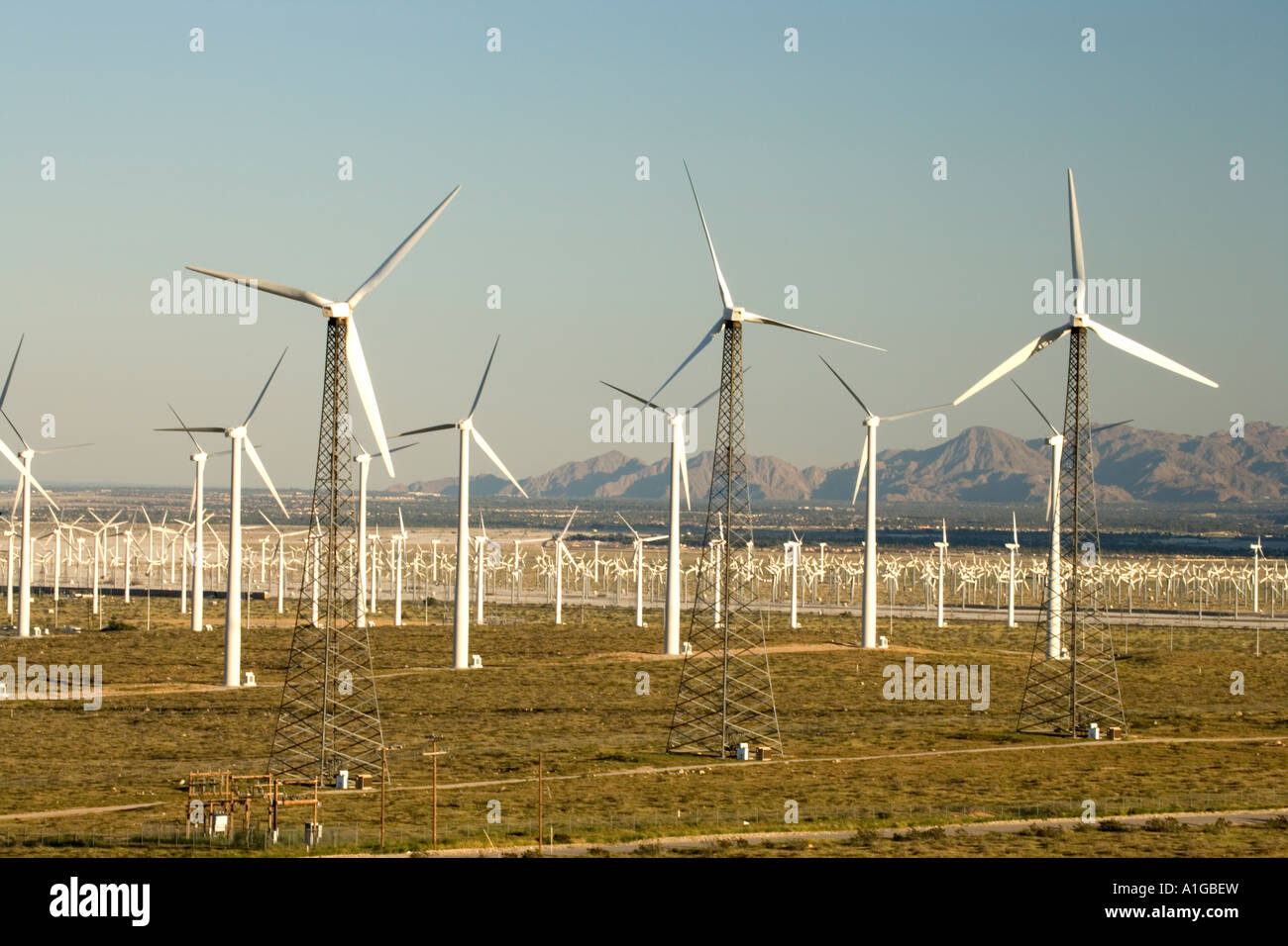 Windpark, angetriebene Windgeneratoren, California Stockbild