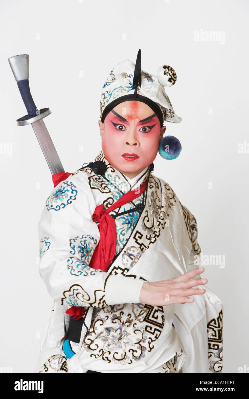 Porträt eines reifen Mannes tragen traditionelle Kleidung Stockbild