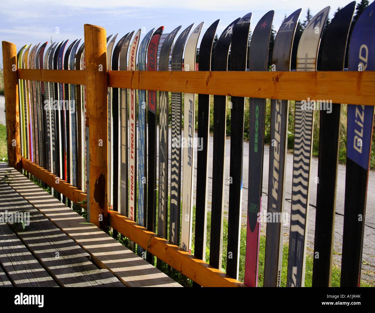 Lustige Ski Zaun Im Bayerischen Wald Deutschland Stockfoto Bild