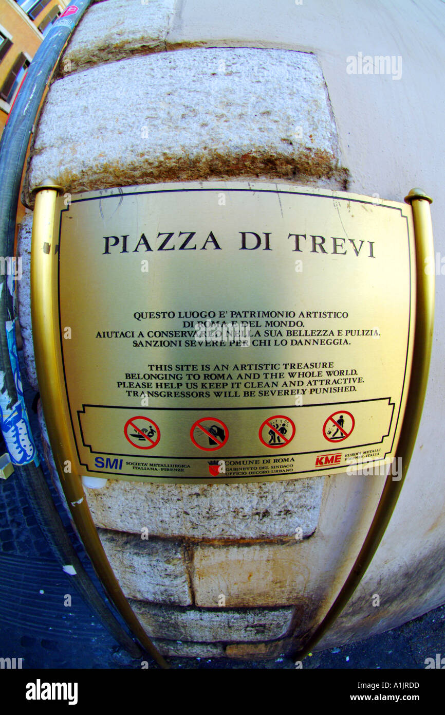 Piazza di Trevi Wegweiser Trevi-Brunnen Stockfoto
