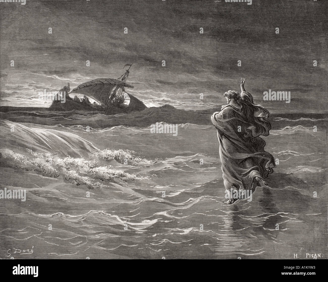 Gravur von Dore Bibel illustriert Johannes vi 19. bis 21. Jesus auf dem Meer von Gustave Dore Stockfoto