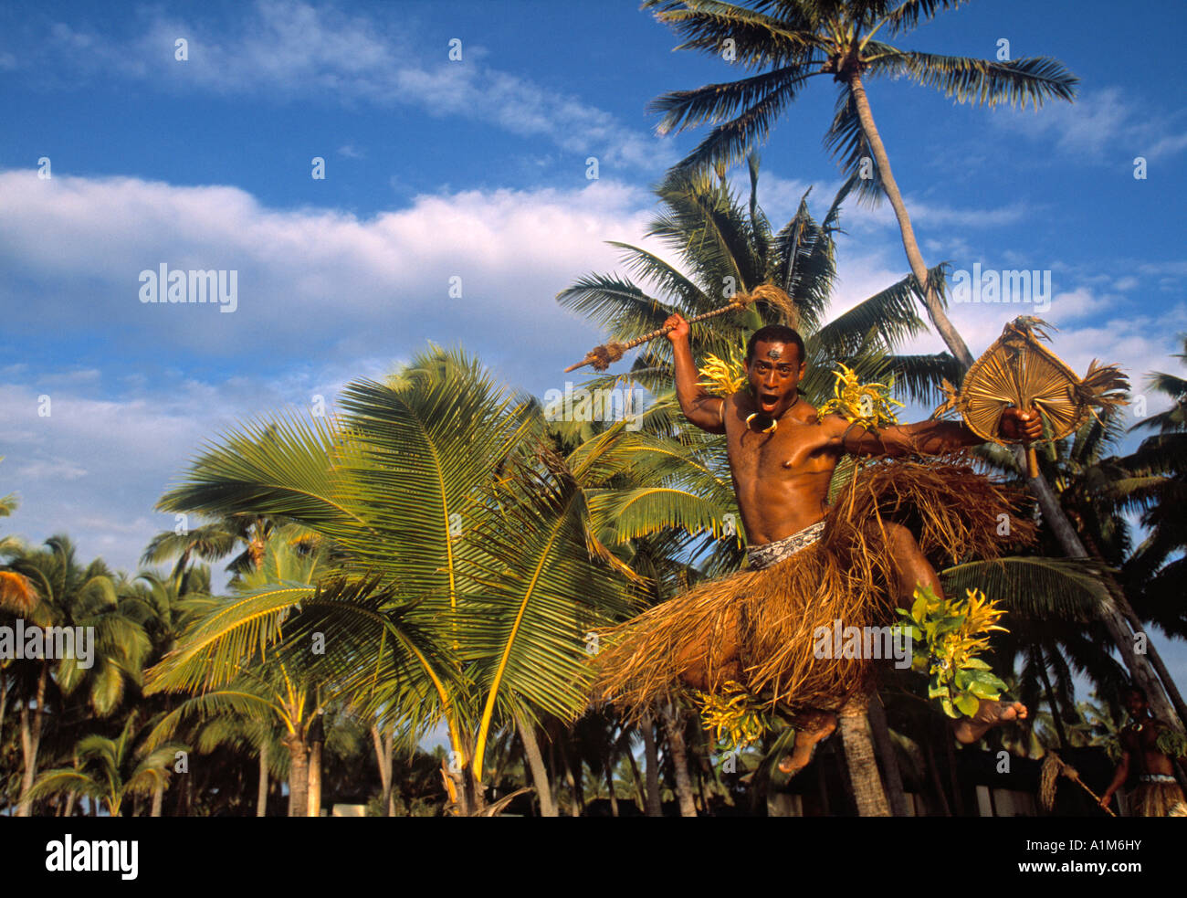 Fidschi Krieger, Denarau, Fidschi Stockbild