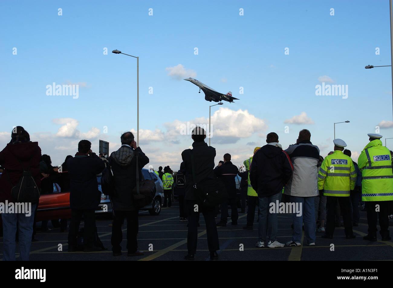 Concorde letzten kommerziellen Flug Ankunft am Flughafen Heathrow Stockfoto