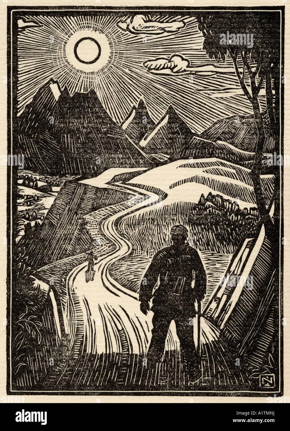 Holzschnitt-Frontispiz von Norman James aus dem Buch die sanfte Kunst der Tramping von Stephen Graham veröffentlicht Stockbild