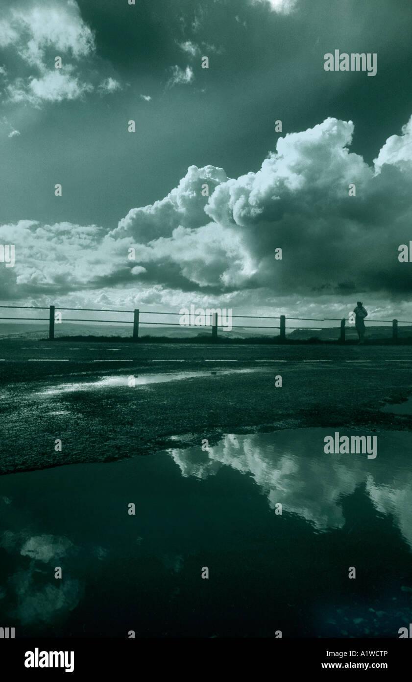 Dramatische Landschaft mit gespiegelten Reflexionen In einer Pfütze von Regenwasser. Stockfoto
