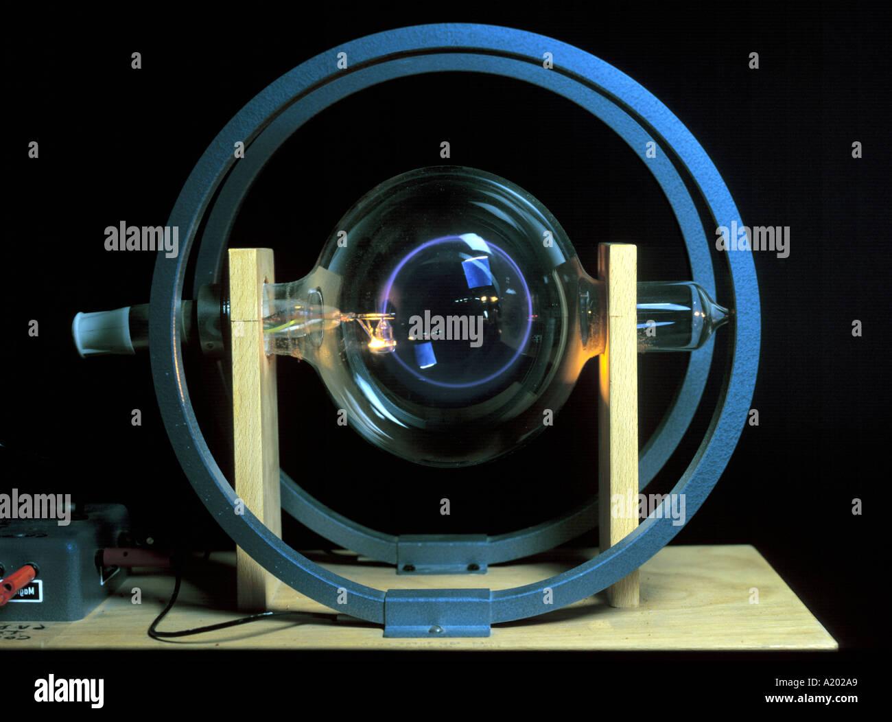 feinen Strahl Rohr mit Helmholtz-Spulen Stockbild