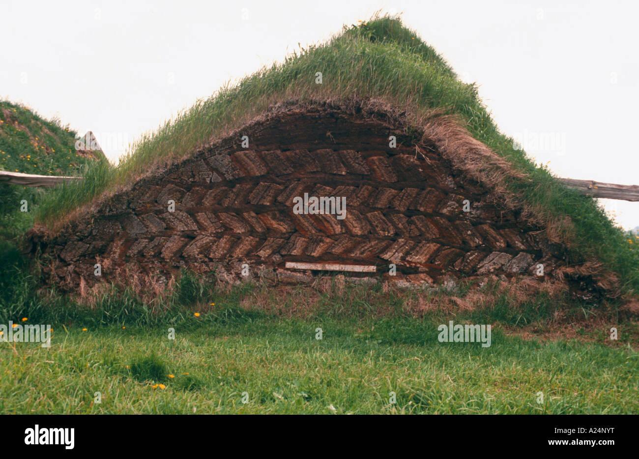 Alten Rasen Häusern aus dem 18. Jahrhundert in Island Stockbild