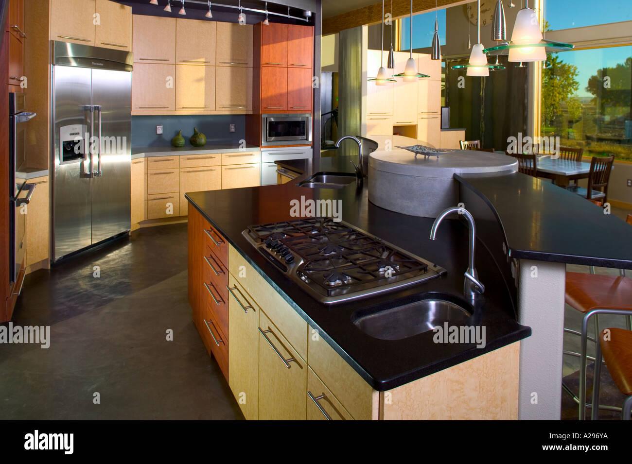Luxus nach Hause innen moderne Küche Herd Top Zähler nach oben ...