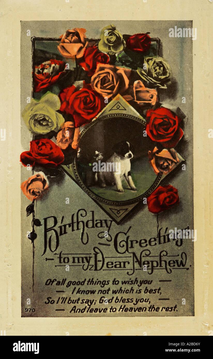 Zu Neffe Geburtstag Grusse Postkarte Anfang Des 20 Jahrhunderts