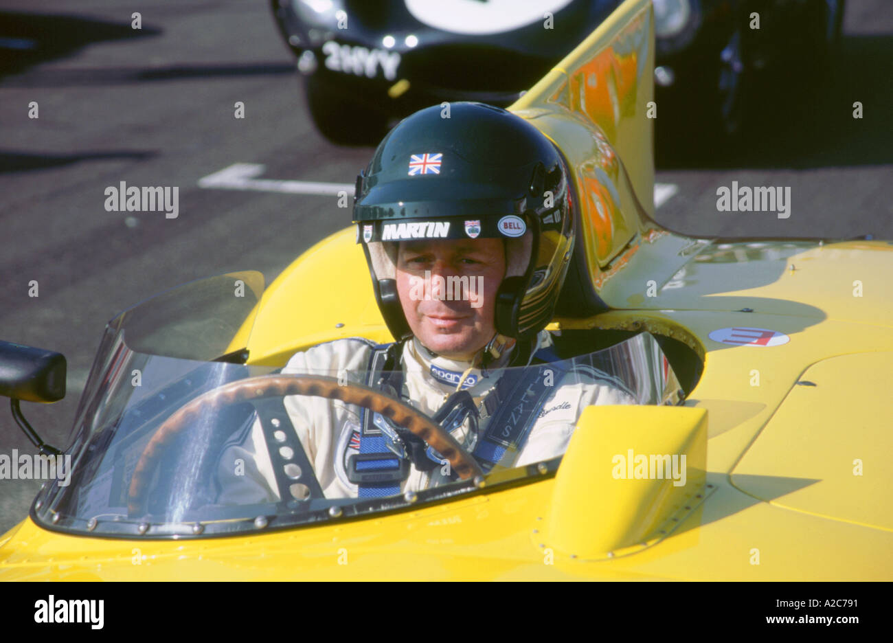 Martin Brundle in 1956 Jaguar D geben Sie 1998 beim Goodwood revival Stockbild