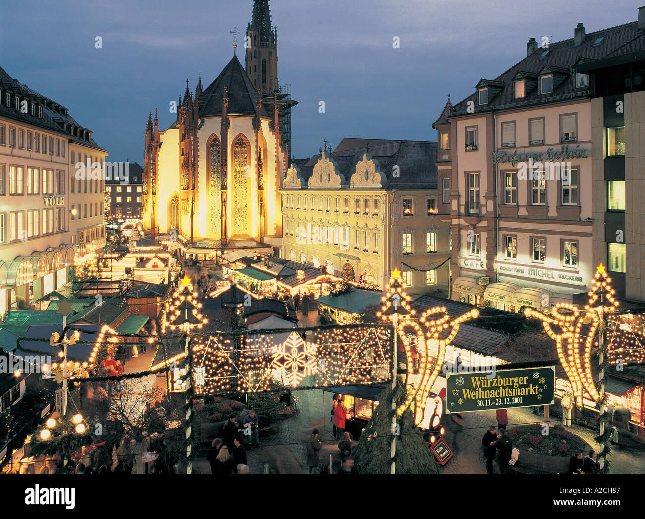 Weihnachtsmarkt Würzburg.Deutschland Würzburg Weihnachtsmarkt Hauptplatz Stockfoto Bild