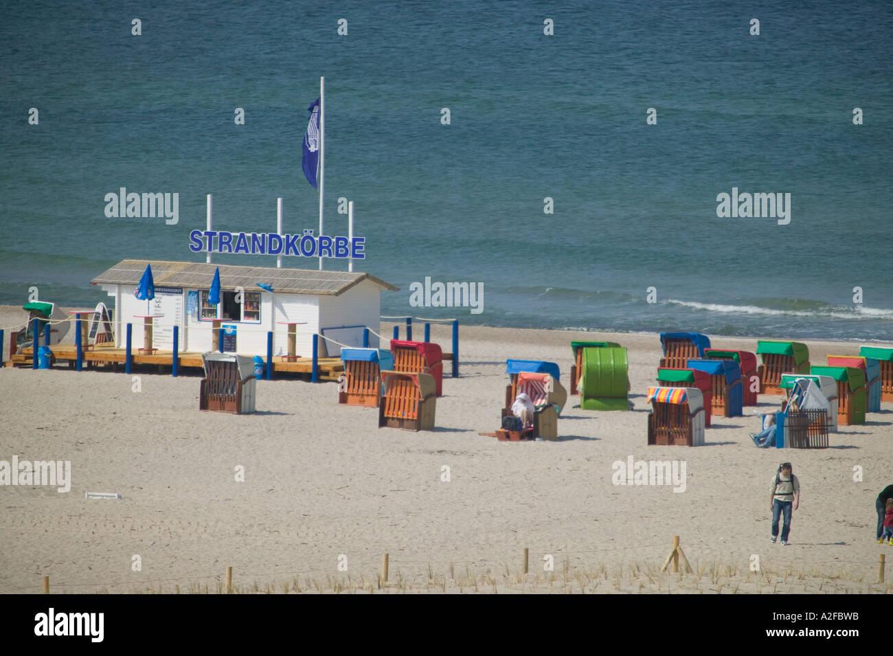 EU, Deutschland, Warnemünde Strand Stockbild