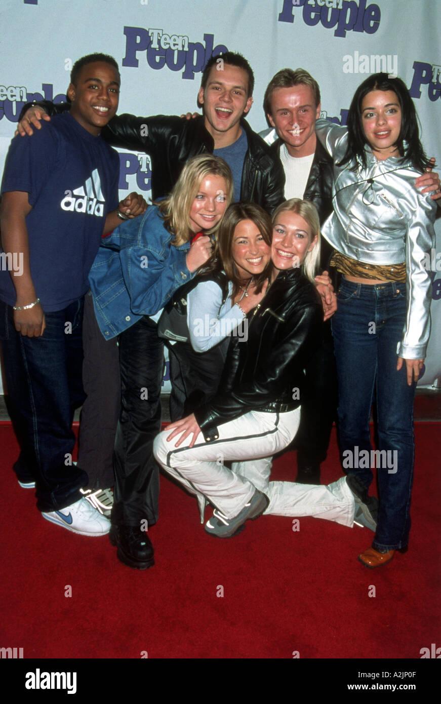 Britische pop-Gruppe S CLUB 7 in den späten 1990er Jahren Stockbild