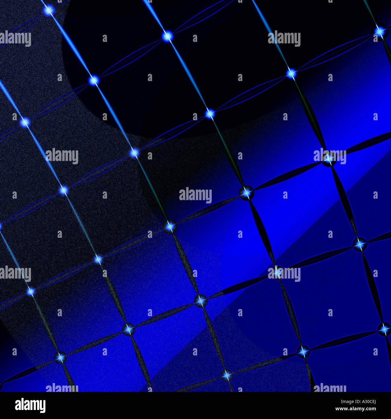 Computergenerierte Fraktalbild elektrische Strom Illusion Rhythmus Symmetrie durch unwirkliche gekreuzten Hintergrundbeleuchtung Stockbild